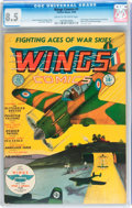 Golden Age (1938-1955):War, Wings Comics #1 (Fiction House, 1940) CGC VF+ 8.5 Cream tooff-white pages....