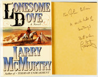 Larry McMurtry. INSCRIBED. Lonesome Dove. New York: Simon and Schuster, [1985]. First edition