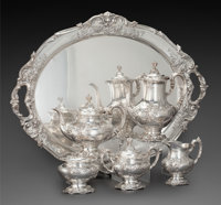 A REED & BARTON SIX-PIECE FRANCIS I PATTERN SILVER TEA AND COFFEE SERVICE WITH TRAY