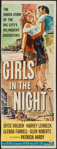 "Movie Posters:Crime, Girls in the Night (Universal International, 1953). Trimmed Insert(13.5"" X 36""). Crime.. ..."