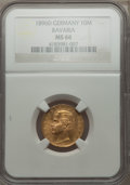German States:Bavaria, German States: Bavaria. Otto gold 10 Mark 1896-D MS66 NGC,...