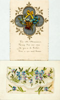 Miscellaneous:Postcards, [Postcards] Pair of Postcards with Linen and Embroidery. A bitsoiled. Very good. From the collection of Judith Adelman....