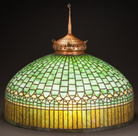 TIFFANY STUDIOS LEADED GLASS AND BRONZE HANGING OR FLOOR CURTAIN BORDER SHADE AND FINIAL