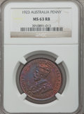 Australia, Australia: George V Penny 1923 MS63 Red and Brown NGC,...