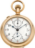 Timepieces:Pocket (post 1900), Harvard, Swiss, Split Second Chronograph With Register. ...