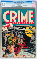 Golden Age (1938-1955):Crime, Crime Does Not Pay #33 (Lev Gleason, 1944) CGC VF 8.0 Off-white pages....