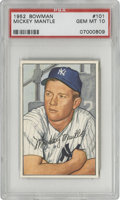 Baseball Cards:Singles (1950-1959), 1952 Bowman Mickey Mantle #101 PSA Gem Mint 10. Of 1177 suchspecimens to pass through the offices of PSA as of the time of...