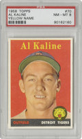 Baseball Cards:Singles (1950-1959), 1958 Topps Al Kaline Yellow Name #70 PSA NM-MT 8. The more scarceand desirable variation of this Hall of Famer's card is t...