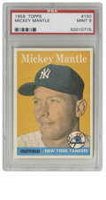 Baseball Cards:Singles (1950-1959), 1958 Topps Mickey Mantle #150 PSA Mint 9. Marvelous photographicportrait of the Mick in his prime makes the '59 Topps card...