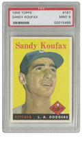 Baseball Cards:Singles (1950-1959), 1958 Topps Sandy Koufax #187 PSA Mint 9. Though short by Hall ofFame standards, Koufax' career stands as one of the finest...