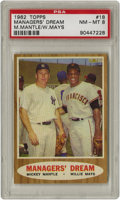 Baseball Cards:Singles (1960-1969), 1962 Topps Manager's Dream Mantle/Mays #18 PSA NM-MT 8. A classicimage that brings fan favorite sluggers together on one c...