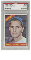 """Baseball Cards:Singles (1960-1969), 1966 Topps Sandy Koufax #100 PSA Mint 9. Adhering to the old adage,""""Always leave them wanting more,"""" the great Sandy Koufa..."""