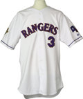 Baseball Collectibles:Uniforms, 2001 Alex Rodriguez Game Rangers Jersey. A league-leading fifty-twohome runs, 133 runs scored and eighty-seven extra base h...