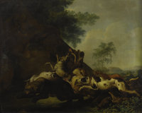 After CARL BORROMAUS ANDREAS RUTHART (German 1630-1703) The Bear Hunt Oil on canvas 30in. x 37.5in