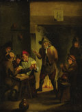 Old Master:Dutch, Follower of CORNELIS DUSART (Dutch 1660-1704). Tavern Scene.Oil on canvas. 12in. x 9in.. ...