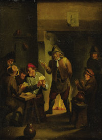 Follower of CORNELIS DUSART (Dutch 1660-1704) Tavern Scene Oil on canvas 12in. x 9in
