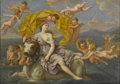 Old Master:French, Manner of FRANCOIS BOUCHER (French 18th Century). The Abductionof Europa. Oil on canvas. 15.5in. x 22in.. Inscribed on ...
