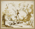 Old Master:Italian, Attributed to GIOVANNI BATTISTA TIEPOLO (Italian 1696-1770). GodBanishing Cain. Pen and brown ink with brown wash, penc...