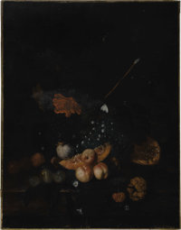 JACOB van HUYSUM (Dutch 1686-1740) Still Life with Fruit Oil on canvas 35.75in. x 28in. Signed lower left A very ol