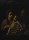 19th Century European:Neoclassical, After CARRACCI (19th Century). Holy Family. Oil on canvas.40.75in. x 30in.. Signed lower left. ...