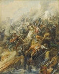 19th Century European:Orientalism, De BELLY (19th Century). Crusade Battle. Watercolor onpaper. 24in. x 19in.. Signed lower left. ...