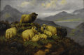 19th Century European:Landscape, JOHN SHIRLEY FOX (British 1860-1939). Sheep on a Hillside,1917. Oil on canvas. 24in. x 36in.. Signed and dated lower ri...