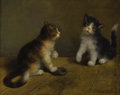 19th Century European:Romanticism, DANIEL MERLIN (French 1861-1933). Kittens Playing with aMouse. Oil on canvas. 13in. x 16in.. Signed lower right. ...
