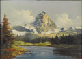 Paintings, ITALIAN SCHOOL (19th Century). Alpine Lake. Oil on canvas. 20in. x 27.5in.. Signed lower right: Moretti. ... (Total: 1 Item Item)