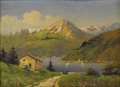 19th Century European:Landscape, ITALIAN SCHOOL (19th Century). Alpine Lake. Oil on board.19.5in. x 27.5in.. Signed lower right. ...