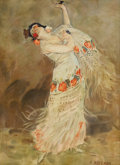 19th Century European:Romanticism, GAIL SHERMAN CORBETT (American 1871-1952). Flamenco Dancer.Oil on board. 10.75in. x 8in.. Signed lower right. ...