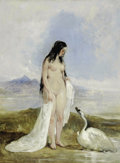 19th Century European:Romanticism, WILLIAM ETTY (British 1787- 1849). Leda and the Swan. Oil on panel. 15in. x 12in.. ...