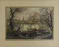 Prints:European Modern, LUIGI KASIMIR (Austrian 1881-1962). Hamburg Pinnenalster.Color etching. 16.5in. x 23.25in.. Signed lower center. An ...