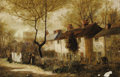 19th Century European:Barbizon, Style of GUSTAVE COURBET (French 1819-1877). Village Houses.Oil on canvas. 20in. x 30in.. ...