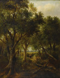 19th Century European:Landscape, JOSEPH THORS (British 1843 - 1898). Gathering Firewood. Oilon canvas. 36in. x 28in.. Signed lower right. Provenance: Co...