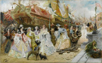 GEORGES JULES VICTOR CLAIRIN (French 1843-1919) The Royal Entourage Oil on canvas 31.5in. x 51in. Signed lower left&...