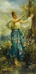 19th Century European:Romanticism, HANS ZATZKA (Austrian 1859-1945). Girl with Flowers. Oil onpanel. 20.5in. x 10in.. Signed lower left. ...