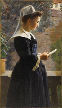 JULES RONSIN (French 1867-1937) Young Girl from Brittany, c. 1910 Oil on canvas 32in. x 17.75in.  A French portrait