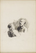 19th Century European:Barbizon, HONORÉ DAUMIER (French 1808-1879). Two Figures. Ink onpaper. 11.5in. x 8.25in.. Provenance: Roger Marx, Paris. Claude...