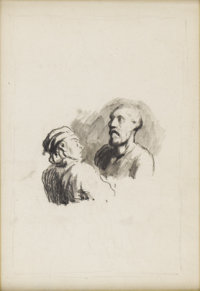HONORÉ DAUMIER (French 1808-1879) Two Figures Ink on paper 11.5in. x 8.25in.  Provenance: Roger Marx, Paris Claud...