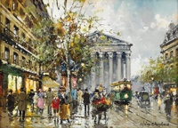 ANTOINE BLANCHARD (French 1910-1988) Place de la Madeleine Oil on canvas 13in. x 18in. Signed lower right