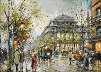 ANTOINE BLANCHARD (French 1910-1988) Quai des Gesvres, le Théâtre du Chatel Oil on canvas 13in. x 18in. Sig...