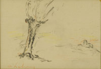 CHARLES AUGUSTE LEBOURG (French 1829-1906) Landscape Colored pencil on paper 5.5in. x 8in. Signed lower left