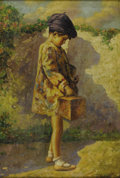 Impressionism & Modernism:European Impressionism, GINO ROSSI (Italian 1884-1945). Girl Going to School. Oil oncanvas. 22in. x 15in.. Signed lower right. Inscribed with t...