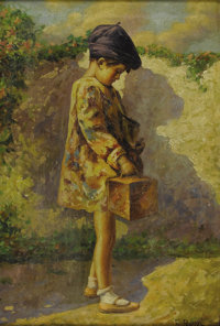 GINO ROSSI (Italian 1884-1945) Girl Going to School Oil on canvas 22in. x 15in. Signed lower right Inscribed with t