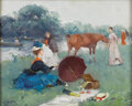 Impressionism & Modernism:European Impressionism, JUAN SOLER (Spanish 1906-1984). Picnic. Oil on board. 13in.x 16in.. Signed lower left. ...