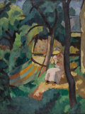 Impressionism & Modernism:Fauvism, CHARLES ALEXANDRE PICART le DOUX (French 1881-1959). Woman in aGarden, 1912. Oil on canvas. 28.75in. x 23.5in.. Signed ...
