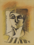 Impressionism & Modernism:Cubism, JEAN METZINGER (French 1884-1956). Cubist Head of a Woman.Pencil, colored pencil and chalk on paper. 12.5in. x 9.5in.. ...