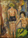 Impressionism & Modernism:post-Impressionism, Attributed to MAX PECHSTEIN (German 1881-1995). Two WomenDressing. Oil on canvasboard. 12in. x 8.75in. Signed lowerrig...