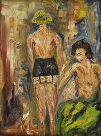 Attributed to MAX PECHSTEIN (German 1881-1995) Two Women Dressing Oil on canvasboard 12in. x 8.75in Signed lower rig