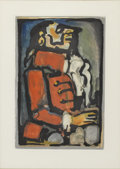 Impressionism & Modernism:Fauvism, GEORGES ROUAULT (French 1871-1958). Les fleurs du Mal,Laquais, 1937. Color aquatint. 12in.x 8.5in.. Vollard publ.,Edit...